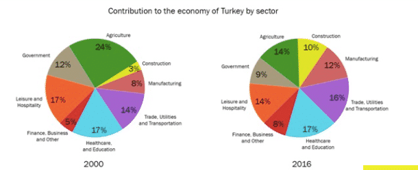 contribution to the economy ofTurkeyin 2000 and 2016